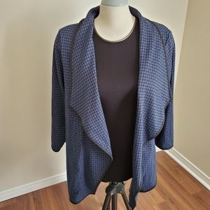 houndstooth Black and Blue Cardigan/ Size 2X